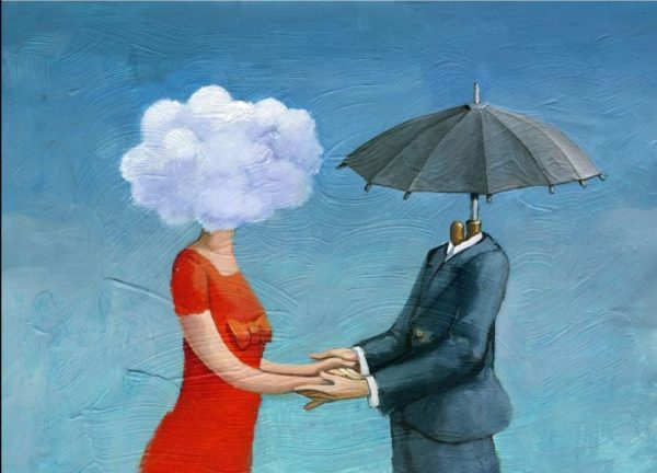 umbrella man with cloud woman decoupage paper